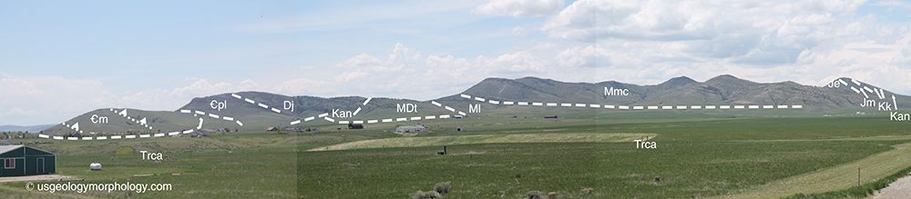 panoramic view of the lombard thrust east of Three Forks, Montana