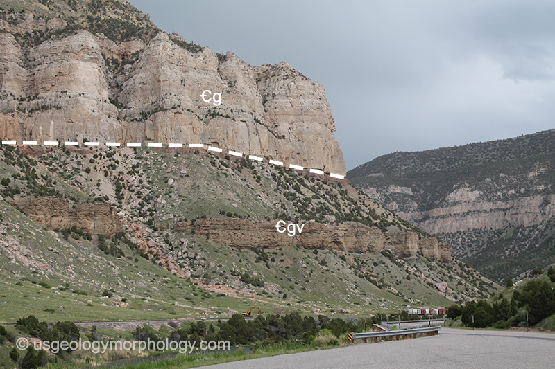 Gallatin limestone and Gros Ventre formation in the Wind River canyon, Wyoming