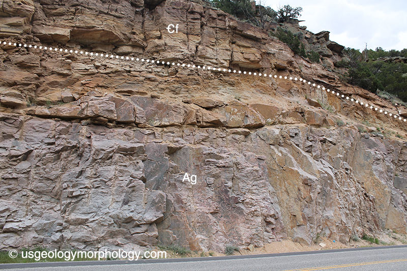Northern end of the Great Unconformity, Wind River canyon, Wyoming