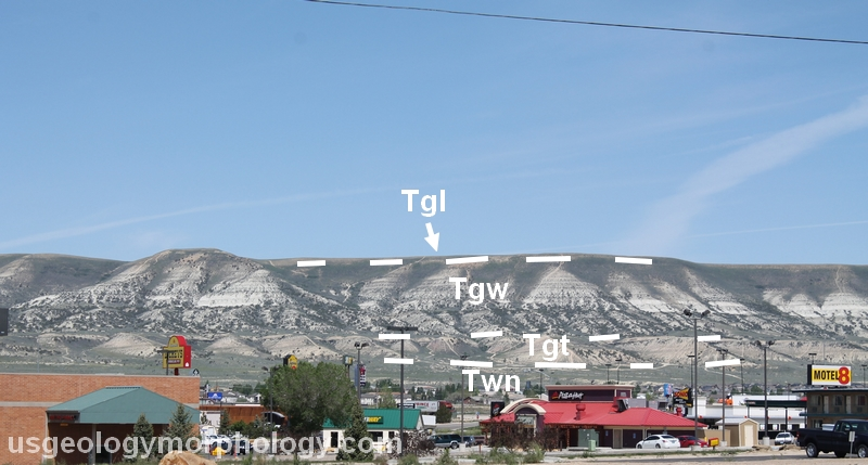 Photo of White Mountain, Wyoming with labeled rock layers