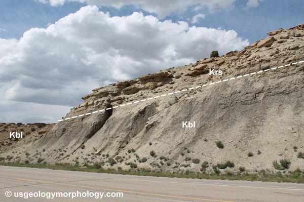 South Baxter Basin, Wyoming. Contact between the Blair and Rock Springs formations