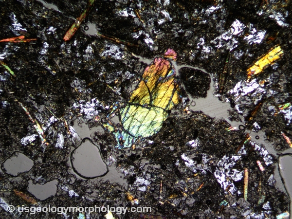 olivine phenocryst in orendite-thin section