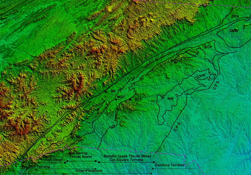 Geologic Map of the North Carolina Inner Piedmont (base: 1 sec arc NED