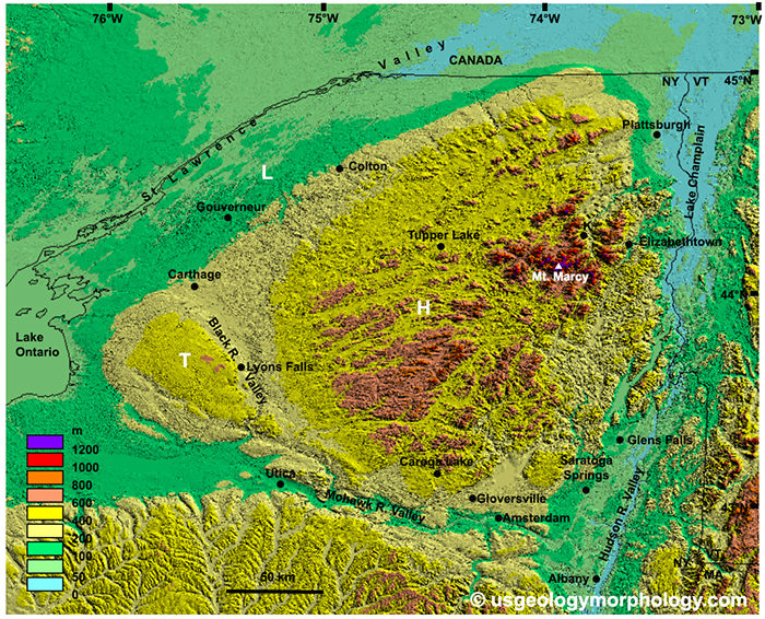 Elevation map of the Adirondack Mountains, New York