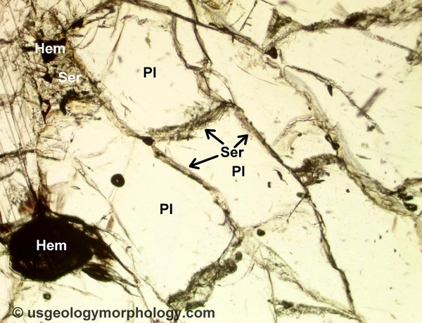 Sericite of hydrothermal origin in meta-anorthosite (PPL)