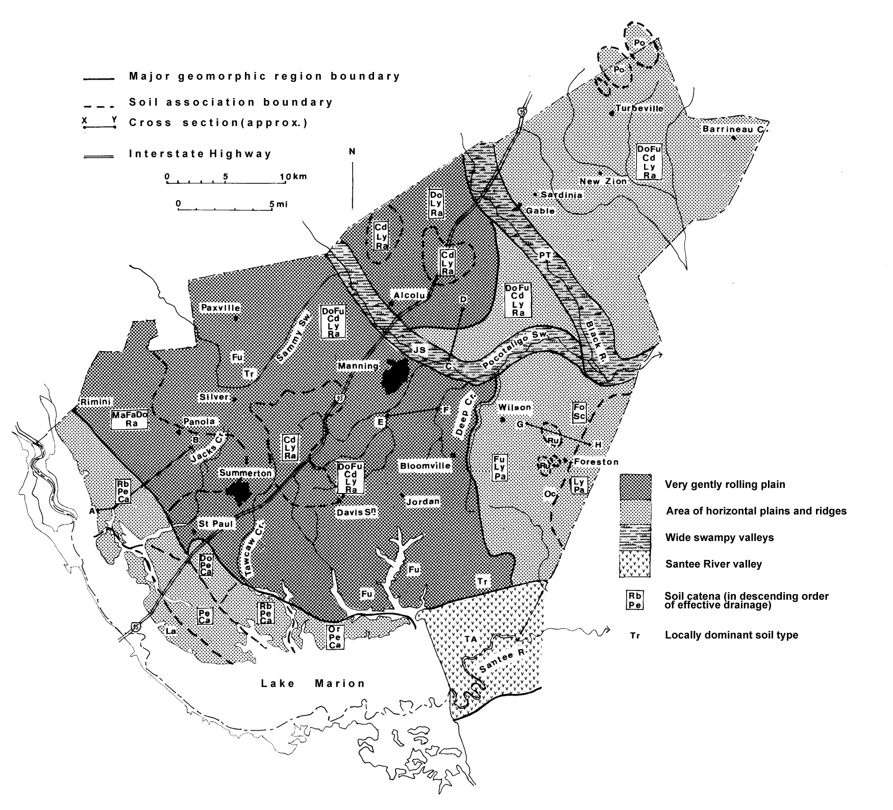 Map of the Soils of Clarendon County, South Carolina